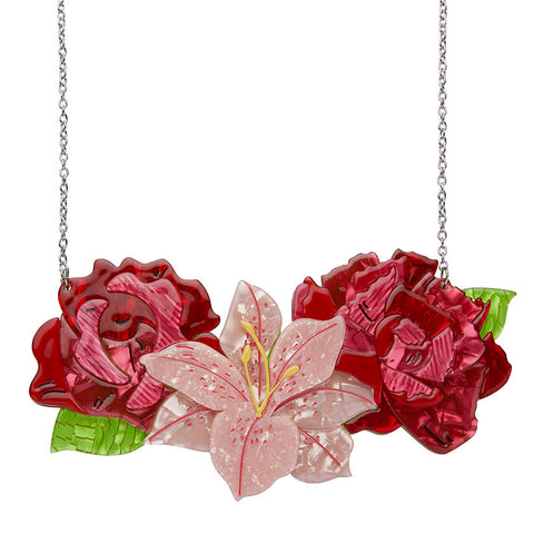 Tickled Pink Rose, Lily & Peony Necklace (Large)