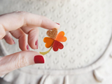 Lucky Clover Brooch Orange Red