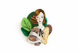 Girl with Rabbit Brooch