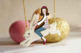 Girl on Rabbit Necklace