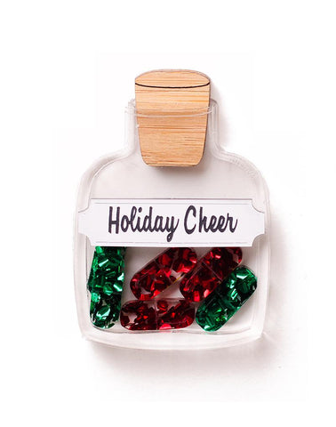 Holiday Cheer Pill Bottle Brooch