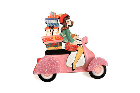Girl on Scooter Brooch