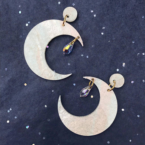 Fairydust Crescent Moon Earrings White