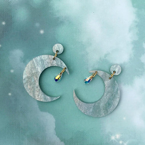 Fairydust Crescent Moon Earrings Blue
