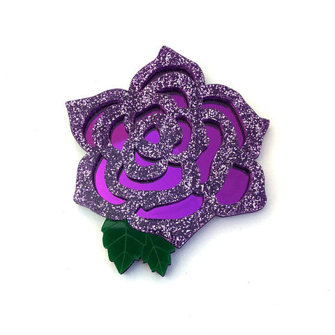 Purple Rose Brooch