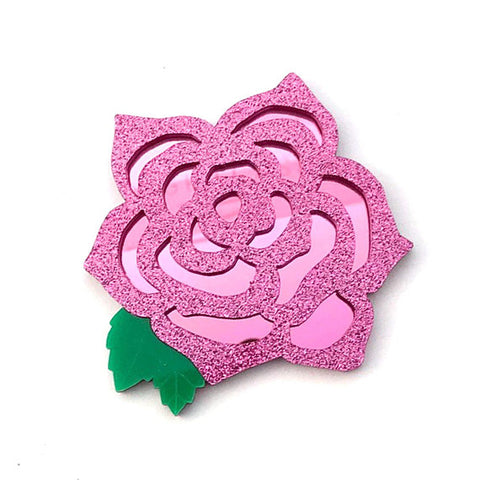 Dark Pink Rose Brooch