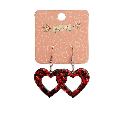 Essentials Drop Earrings Red Chunky Glitter Heart