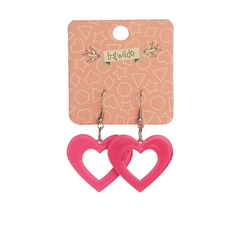 Essentials Drop Earrings Pink Bubble Heart