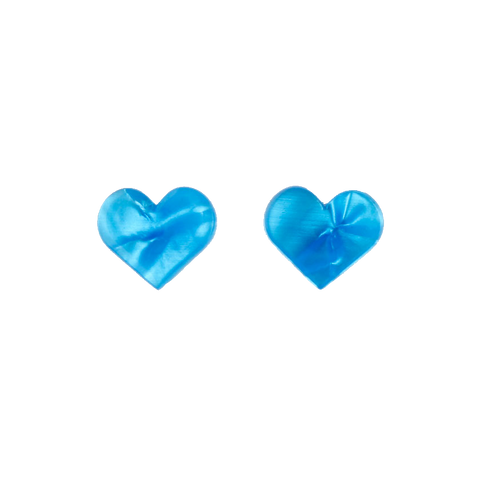 Essentials Heart Studs Blue Ripple