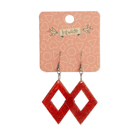 Essentials Drop Earrings Red Glitter Diamond
