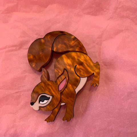 Kitsch Squirrel Acrylic Brooch