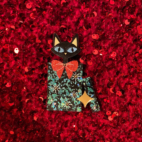Mid Century Modern Kitty in Present Brooch