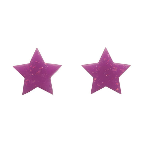 Essentials Star Studs Glitter Purple