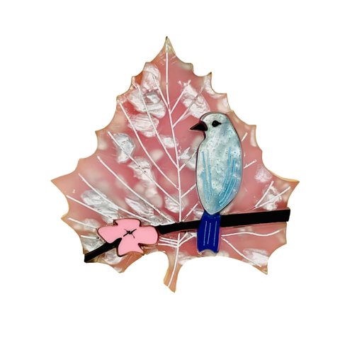 Cherry Blossom Bluebird Leaf brooch