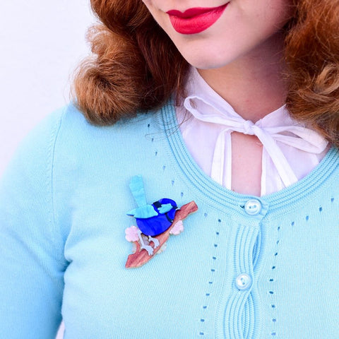 Phoebe The Fairy Wren Brooch