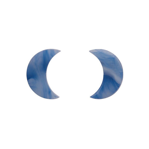 Essentials Moon Studs Marble Blue