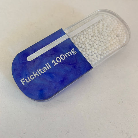 Fuckitall Pill Brooch Blue White Exclusive Edition