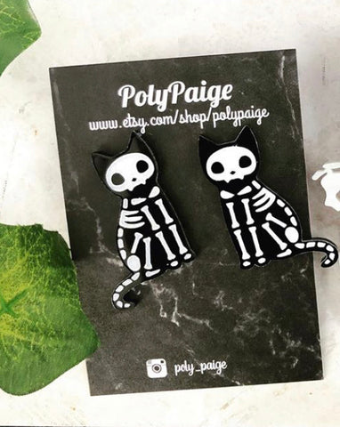 Cat Skeleton Earrings
