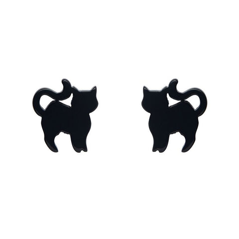 Essential Stud Earrings Pussy Cat Black