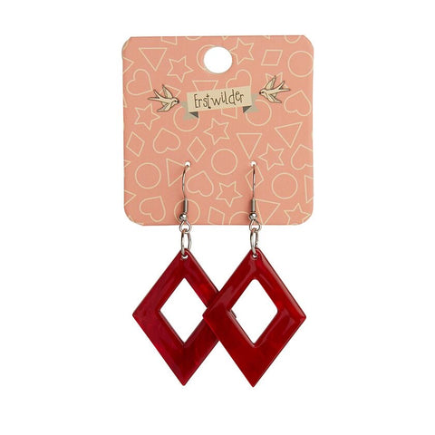Essentials Drop Earrings Ripple Red Diamond