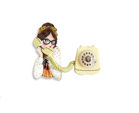 Girl on the Phone Brooch Yellow