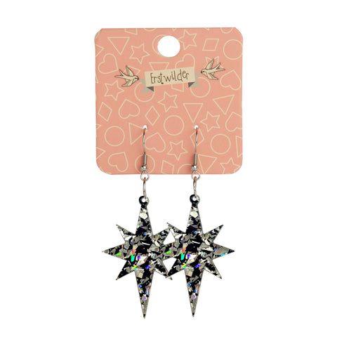Essentials Drop Earrings Holo Chunky Glitter Starburst