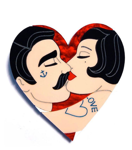 Tattooed Couple Heart, Blood Red
