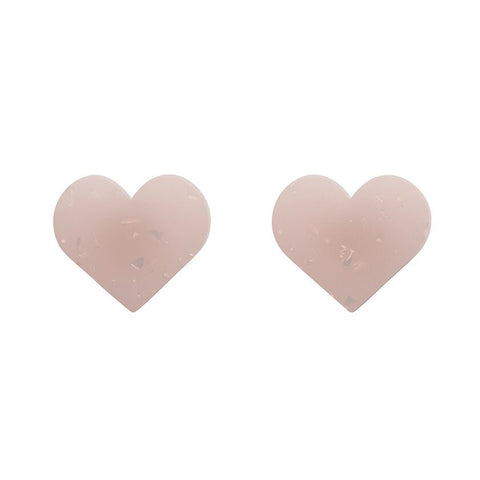 Essentials Heart Studs Marble White