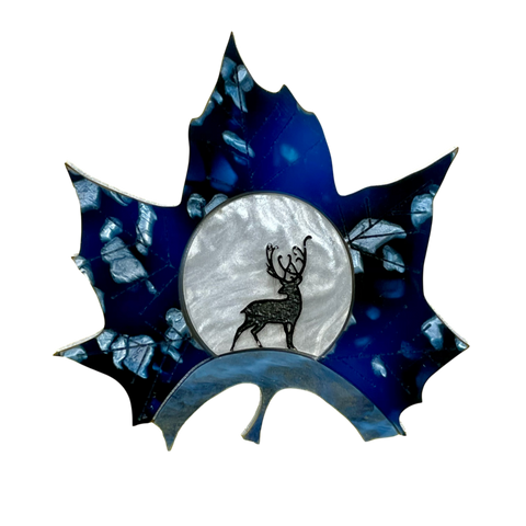 Midnight Deer Leaf brooch