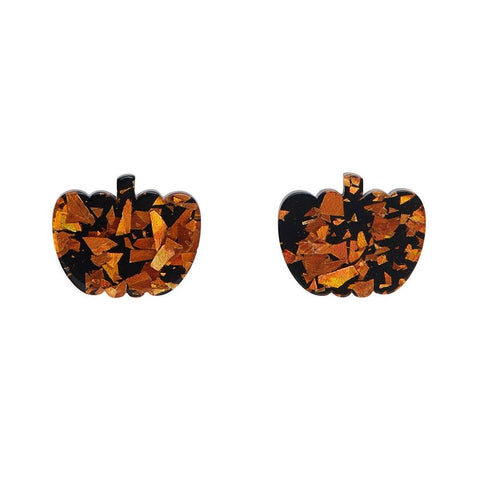Essential Stud Earrings Pumpkin Chunky Glitter Orange