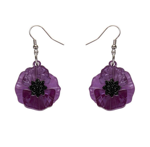 Poppy Field Drop Earrings Purple