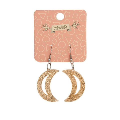 Essentials Drop Earrings Gold Glitter Moon