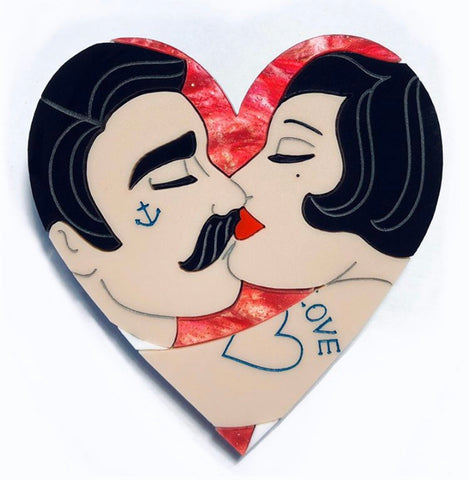 Tattooed Couple Heart, Rose Red