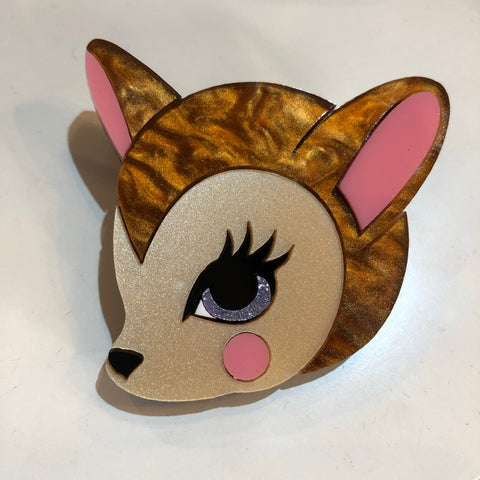 Kitsch Bambi Head Acrylic Brooch