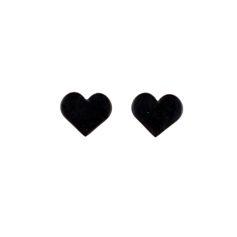 Essentials Heart Studs Black