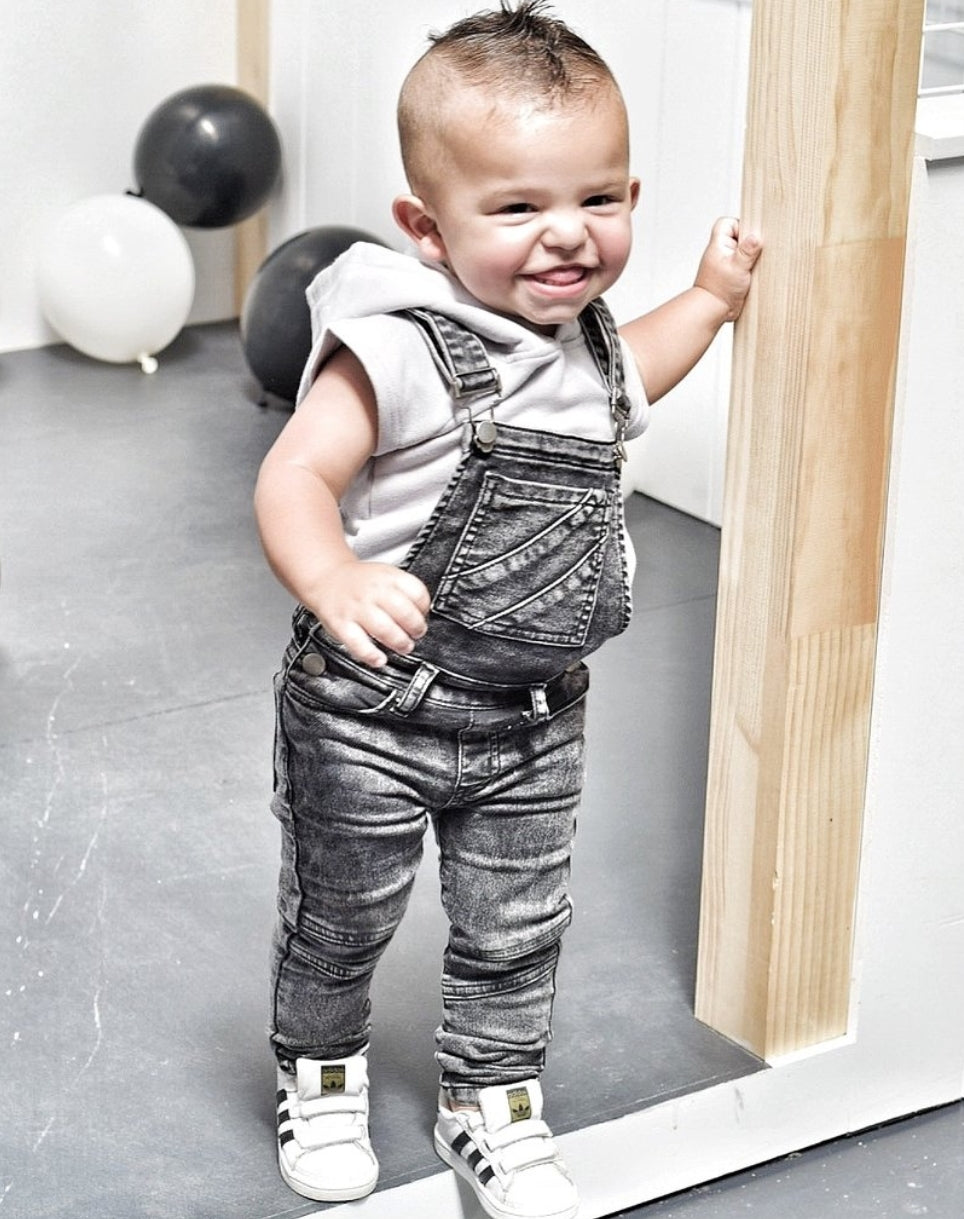 KROME KIDS Jesse Overalls Acid Washed Black