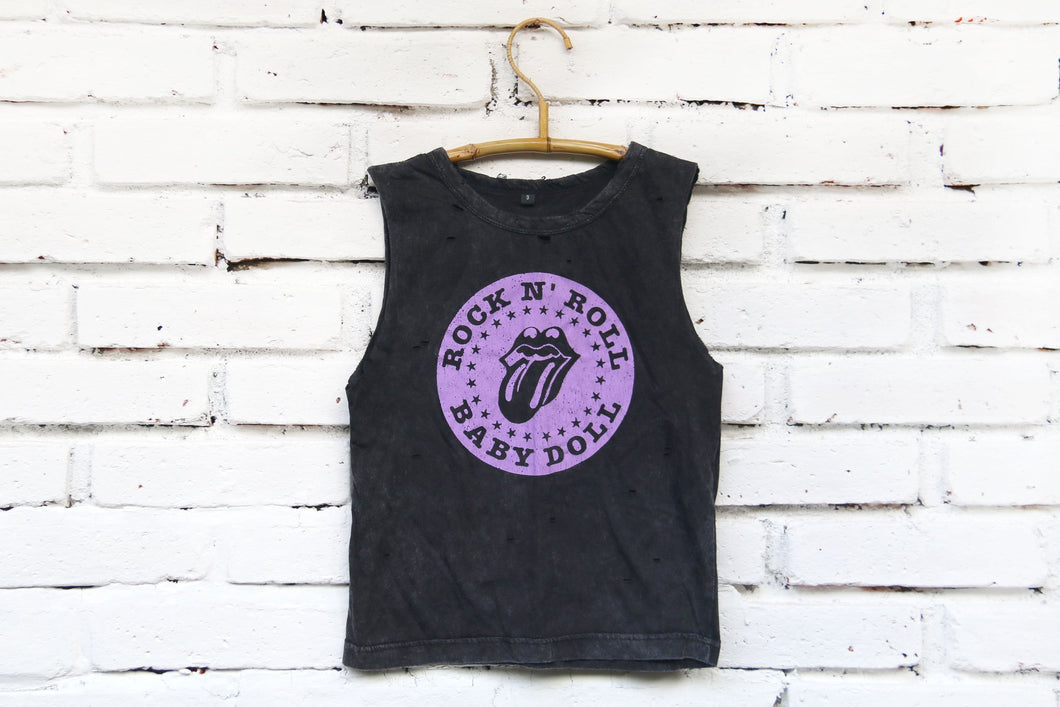 BRAVE & FEARLESS Rock N Roll Baby Doll Distressed Tank