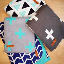 COCO & CRU Turquoise and Charcol Cross Blanket