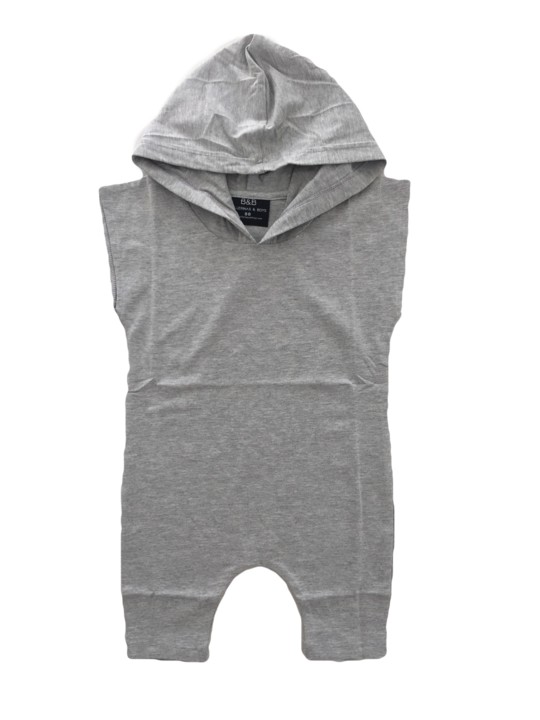 BALLERINA AND BOYS Grey Hooded Romper