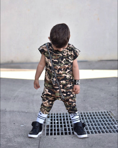 BALLERINA AND BOYS Khaki Camp Romper