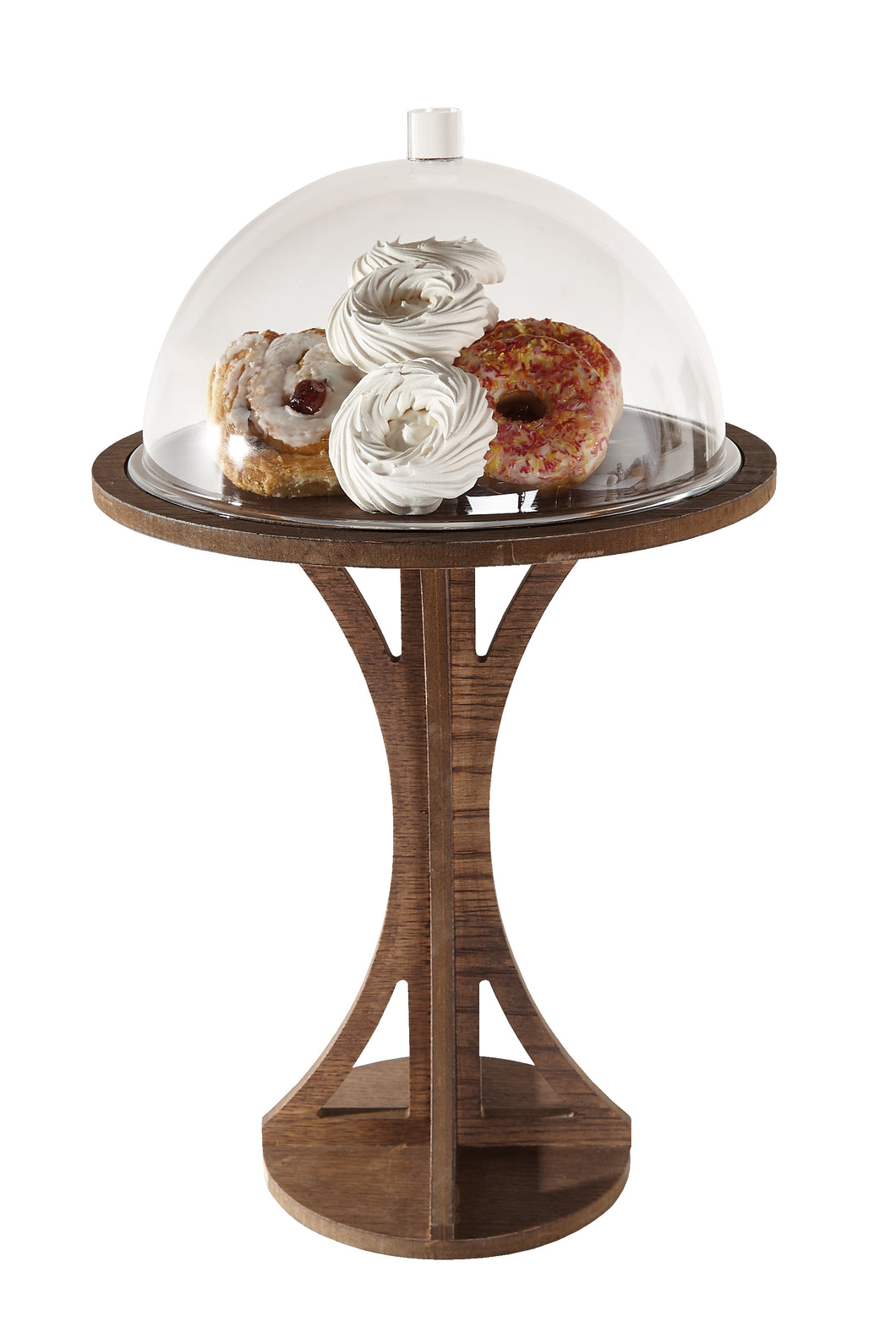 Tall Wooden Regency Cake Stand with dome and cake