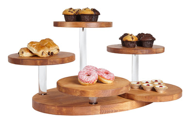 Wooden cake stand 5 disc display with cakes