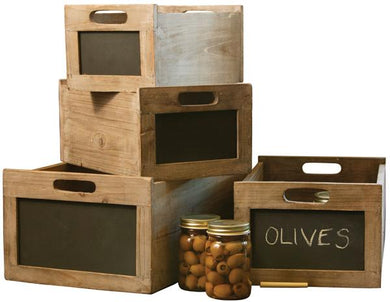 Small Dark Rustic Crate With Blackboard