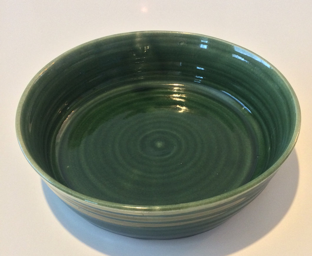 Large Green Ceramic Salad Bowls handmade in Somerset 300mm