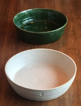 Large Ceramic Salad Bowls handmade in Somerset 300mm Oatmeal and Green