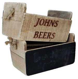 Small Wooden Crate With Rope Handles