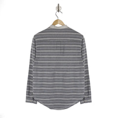 NOSTALGIA Harrier Grey Stripe womens collarless shirt back