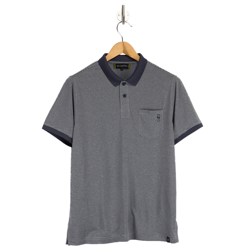 PORTER Harrier Stripe grey polo shirt