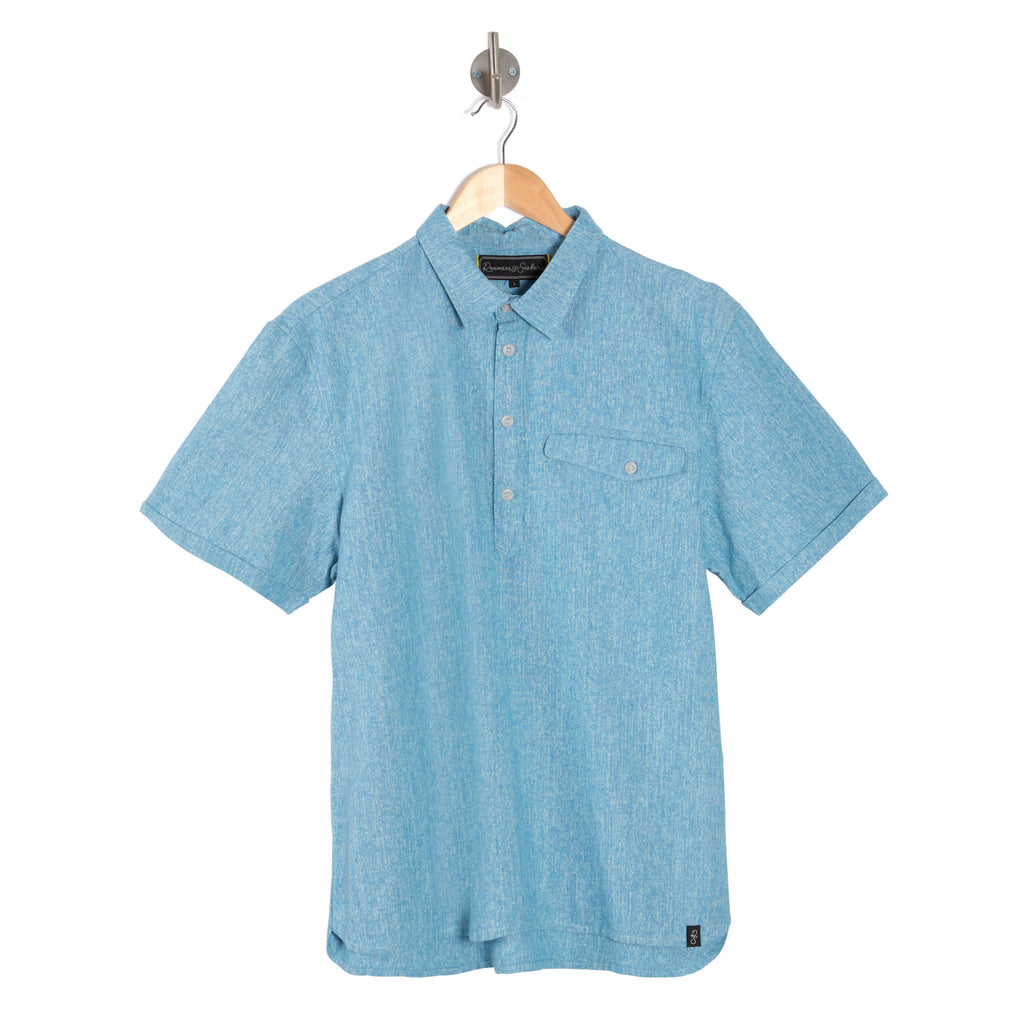 CANYON Lite Chambray Marl blue short sleeve shirt