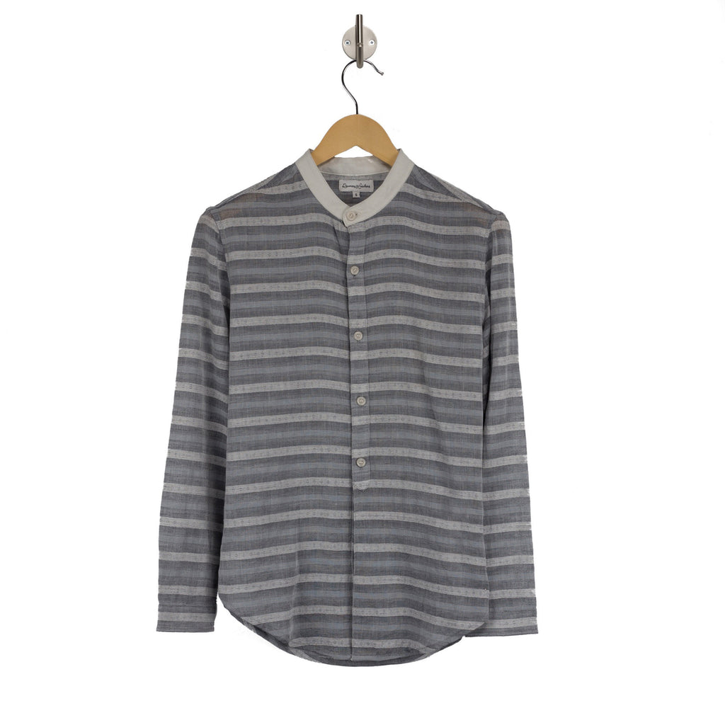 NOSTALGIA Harrier Grey Stripe womens collarless shirt